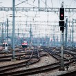 Railway lines at Zuerich main station - Stock Photo