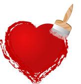 Brush painting heart — Stock Vector