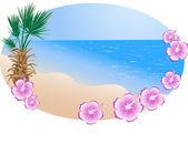 летом пляж в рамке — Cтоковый вектор