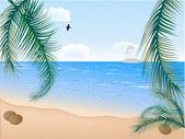 ヤシの木と夏のビーチ — ストックベクタ