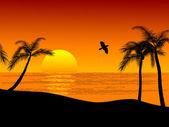 Sunset on the beach — Stock Vector