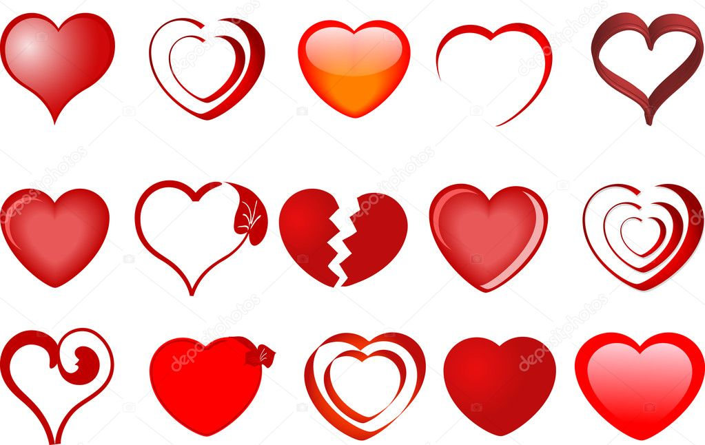 Collection of hearts - vector illustration  Stock Vector #2343997