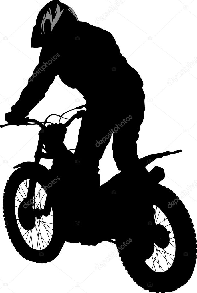 Vector silhouette of the motobiker — Stock Vector #2344220
