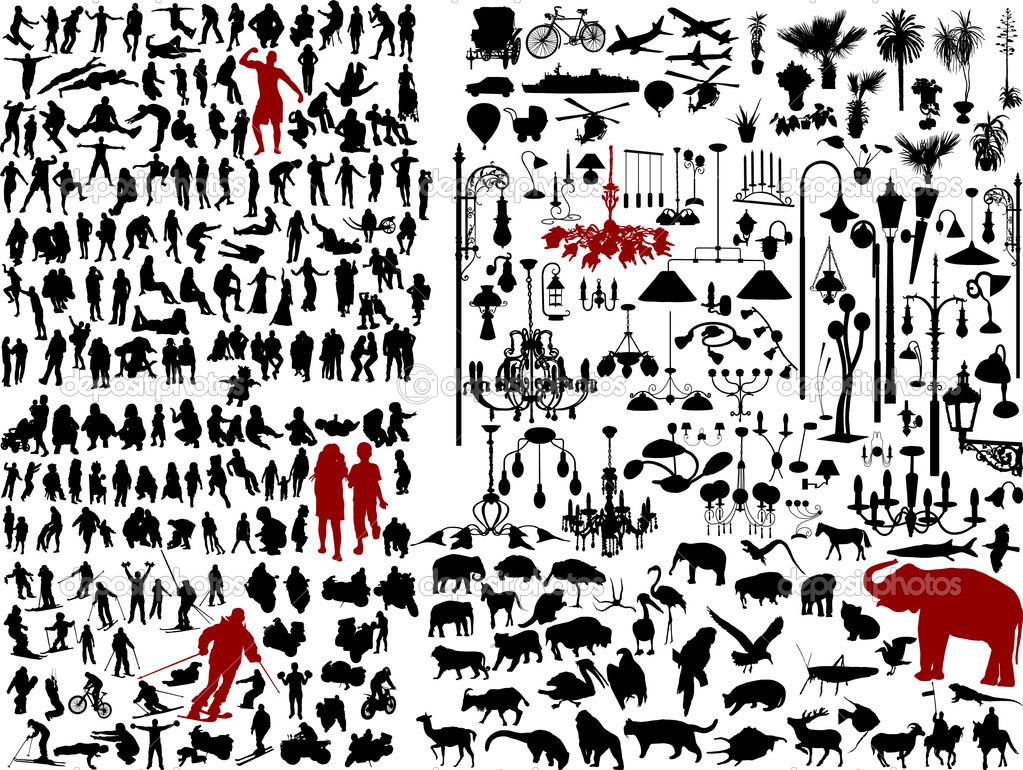 Hundreds mix silhouettes - vector illustration — Stok Vektör #2371311