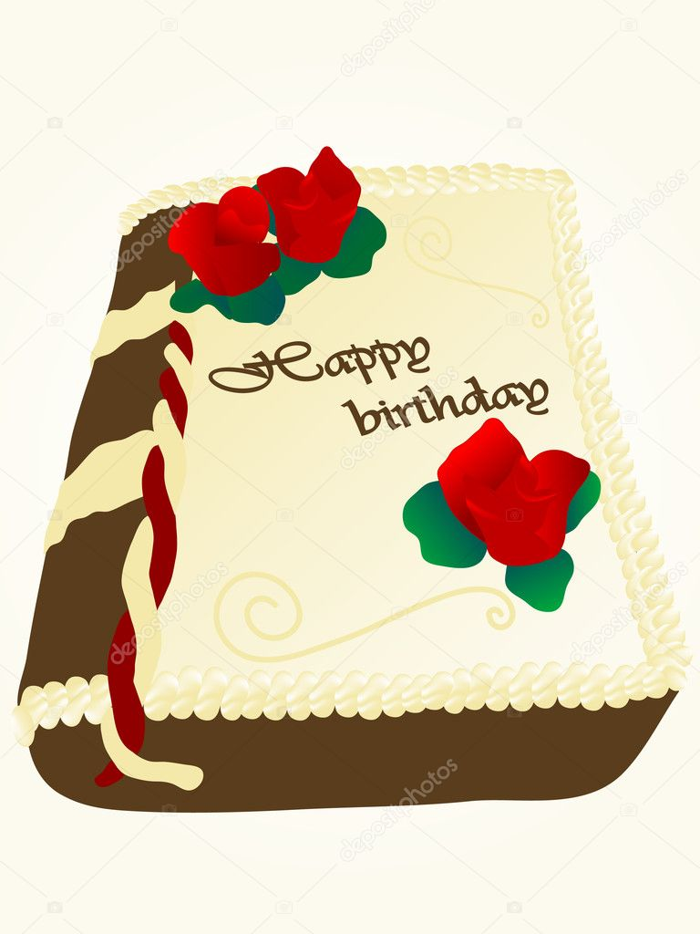 Book cake with happy birthday dedication — Stock Vector #2371672