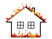 Burning home — Stock Vector
