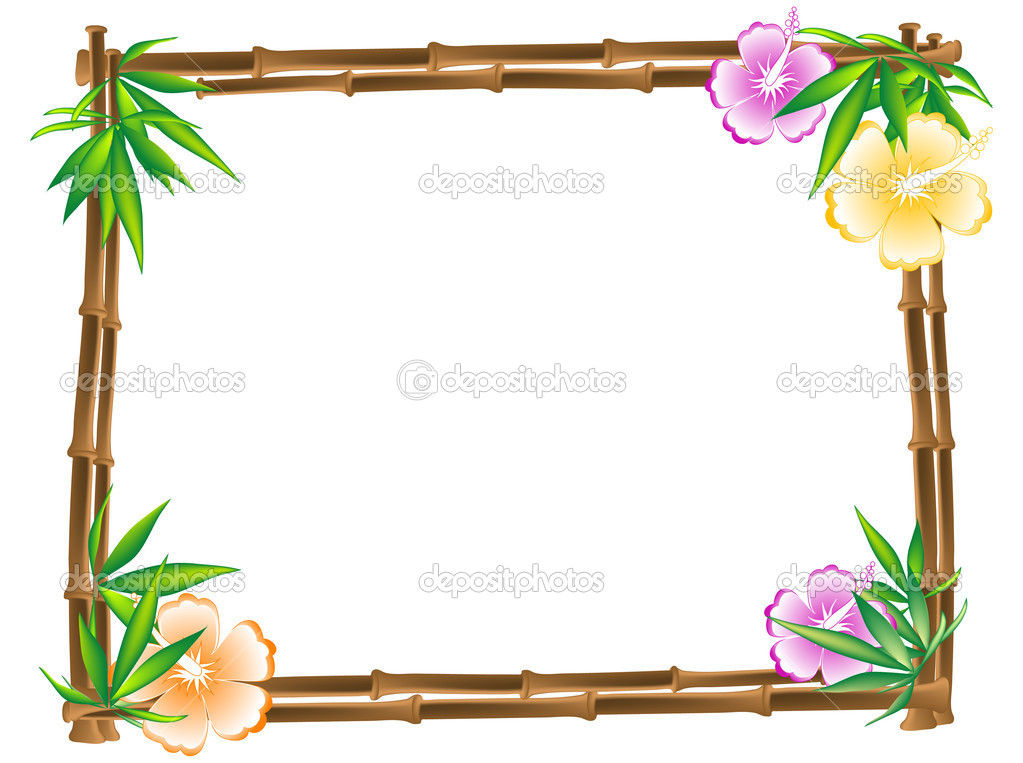 Bamboo frame with hibiscus and leaves  Stock Vector #2420740