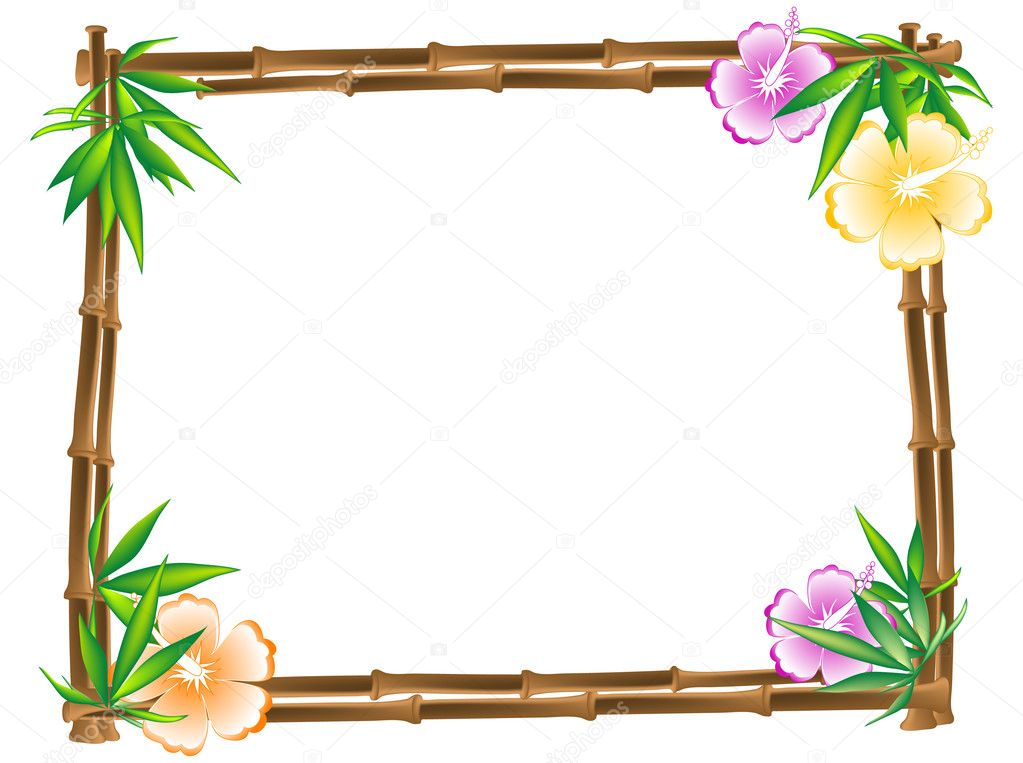 Bamboo frame with hibiscus and leaves   #2420740