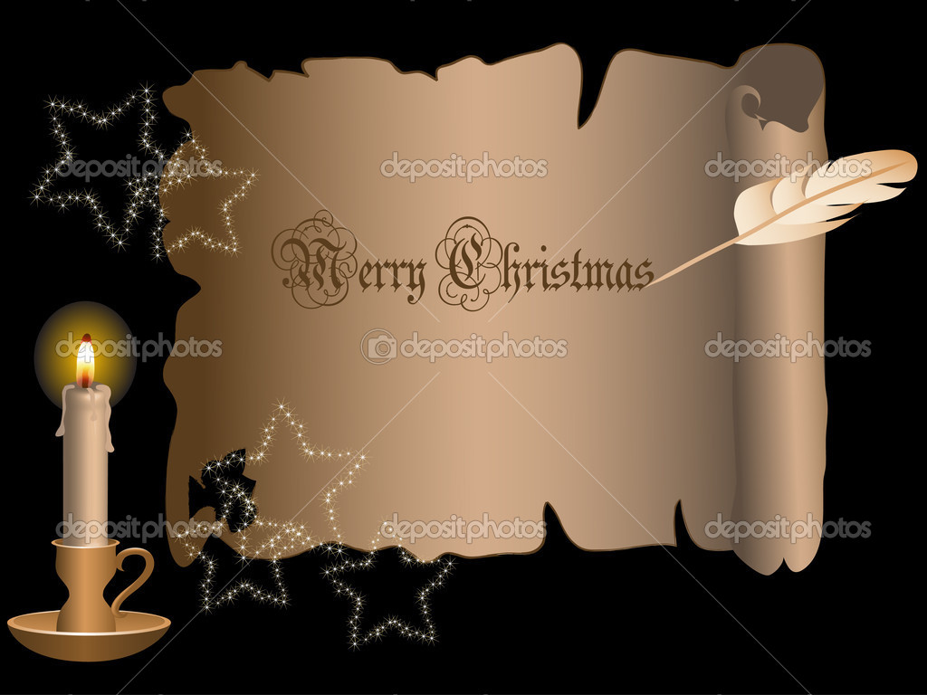 Christmas frame with candle - vector illustration  Vettoriali Stock  #2530457
