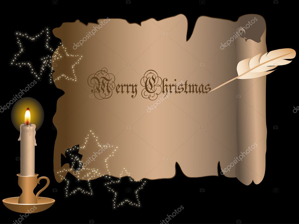 Christmas frame with candle - vector illustration  Stok Vektr #2530457