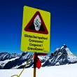 Glacier warning sign — Stock Photo