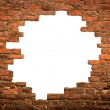White hole in old wall, brick frame - Stock fotografie