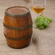 Old barrel with glass of wine — Stock Photo