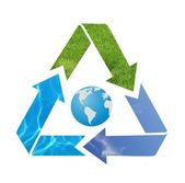 Blue Earth with recycle arrow symbol — Stock Photo