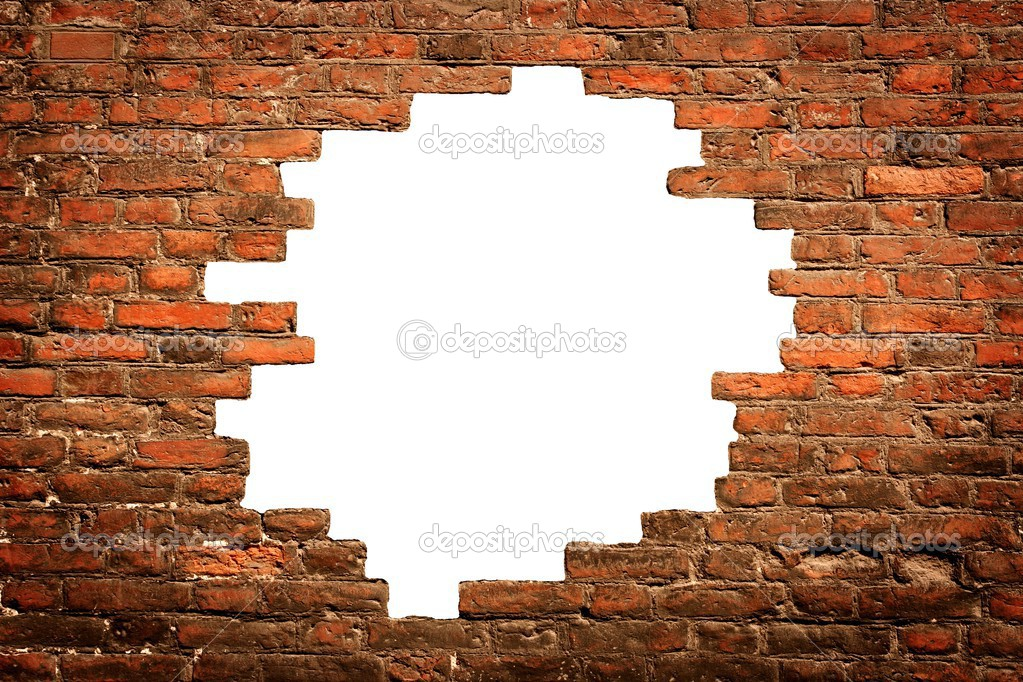 White Hole In Old Wall Brick Frame Stock Photo