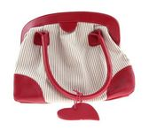 Red striped female handbag — Stock Photo