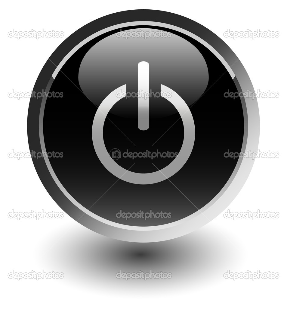 Black power button icons with shadow on white  — Stock Photo #2420975