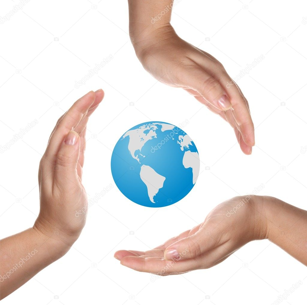Conceptual safety symbol made from hands over Earth globe — Stock Photo #2421005