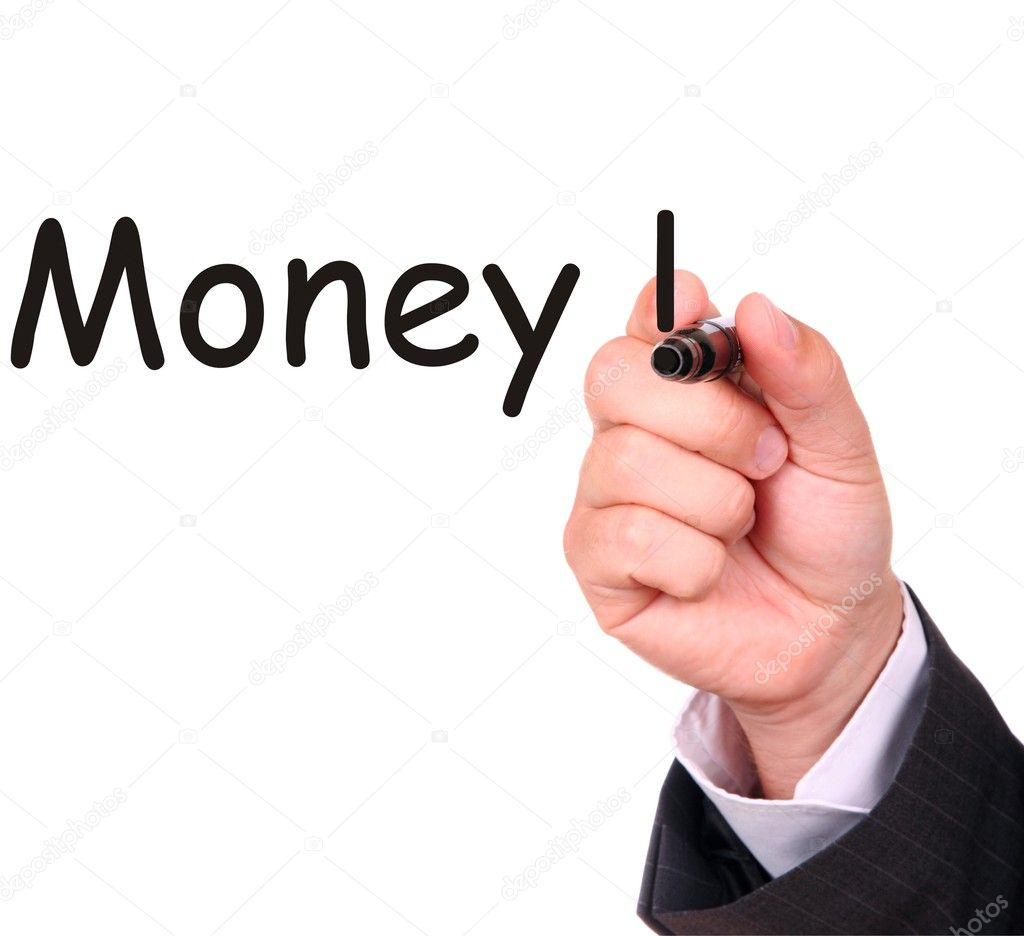 Businessman hand drawing word MONEY on white board  Stock Photo #2421130
