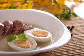 Polish soup with eggs and sousage — Stock Photo