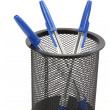 Ball point pens in a cup holder — Stock Photo