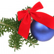 Foto de Stock  : Blue Christmas balls with ribbons and br