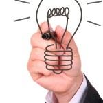 Hand drawing light bulb — Stock Photo