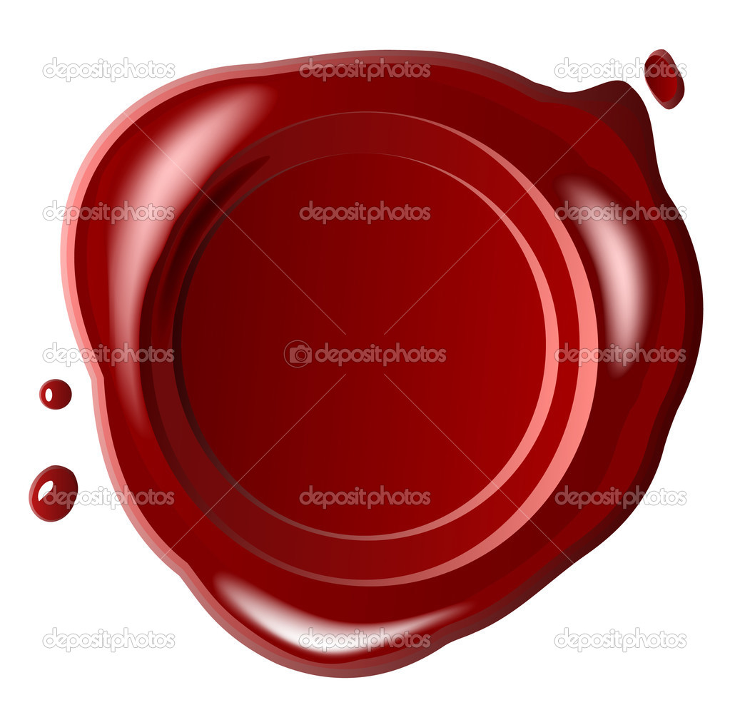 Red seal wax with small drop isolated on white (jpg) — Stock Photo #2533233
