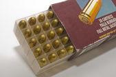 Open box of 9 mm pistol cartridges — Stock Photo