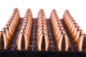 Tray with 9 mm cartridges — Stock Photo