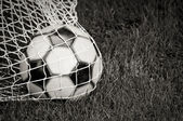 Soccer Ball in the Net - B&W — Stock Photo