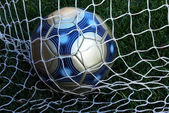 Soccer Ball in Net — Stock Photo