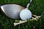 Golf Club Ball & Tees — Stock Photo