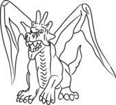 Dragon contour — Stock Vector