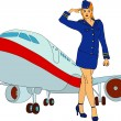 Stock Vector: Air-hostess