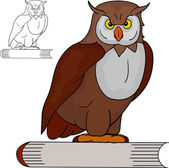 Owl and book — Stock Vector