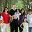 Large multiracial family of seven — Stock Photo