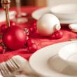 Red and white Christmas table — Stock Photo