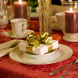 Christmas table setting in red - Stock Photo