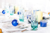 Christmas table in blues and whites — Stock Photo