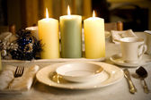 Simple dinner table setting — Stock Photo