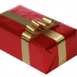 Red gift with gold ribbons - 