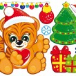 Royalty-Free Stock ベクターイメージ: Tiger in the Santa hat and a set of Chri