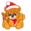 Royalty-Free Stock Vektorgrafik: Tiger in the Santa hat
