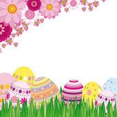 Floral achtergrond met pasen eieren — Stockvector