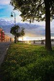 Sunset at embankment — Stock Photo