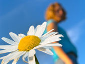 Flower and girl — Stock Photo