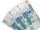 One thousand rouble banknotes isolated — Photo