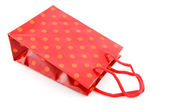 Red shopping bag with dots — Stock Photo