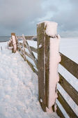 A fence in winter landscape — Stock Photo